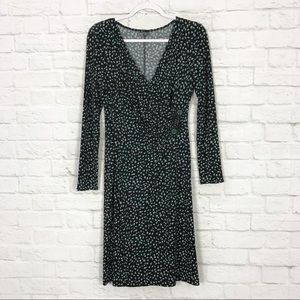 Muse 6 Faux Wrap LowCut Beaded LongSleeve Dress